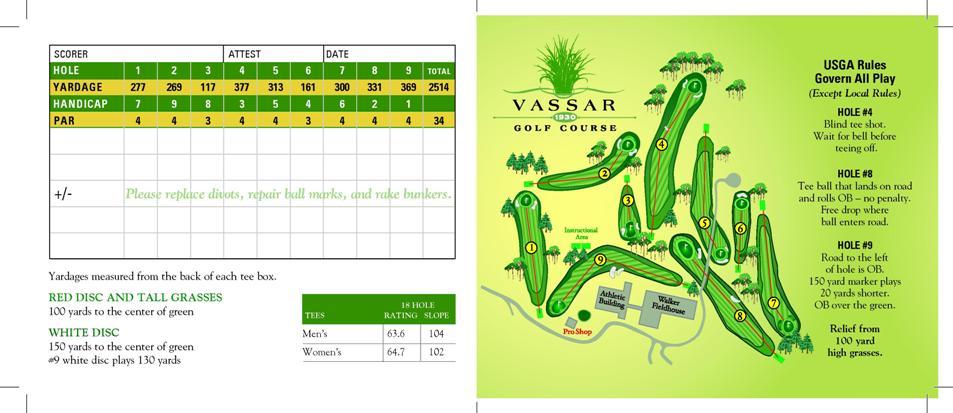 Vassar Golf Course Score Card